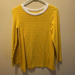 Yellow and White Stripped Ringer Tee